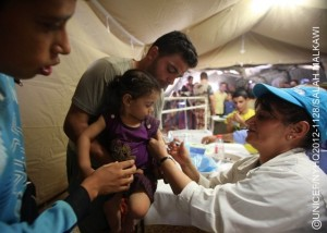 A health worker vaccinates a girl against measles, during the UNICEF-supported immunization campaign, in a mobile hospital in Za'atari, a tented camp for Syrian refugees. The camp, which presently hosts over 27,000 refugees, is located on the outskirts of Mafraq, capital of the northern Mafraq Governorate. By mid-September 2012, Jordan was hosting 86,940 refugees from Syria's escalating war. Syrians have also fled to nearby Iraq, Lebanon and Turkey, bringing the total number of refugees to over 260,500. Inside Syria, some 2.5 million people have been affected by the conflict, of which 1.2 million – half of them children – are displaced. Deaths, including of children and women, have surpassed 18,000. In Jordan, the number of refugees continues to increase. On 11 September, UNICEF and the Ministry of Health, in coordination with the World Health Organization and other partners, launched a large-scale polio and measles vaccination campaign targeting over 100,000 children staying in the Za'atari refugee camp, nearby transit centres and in host communities. UNICEF continues working with diverse governments, other United Nations organizations and local and international NGOs to respond to the needs of affected children in all host countries and inside Syria. UNICEF also supports initiatives in education, water, sanitation and hygiene and child protection, including the provision of child-friendly spaces and psychosocial assistance for children traumatized by their experiences in relation to the conflict. To fund this work, UNICEF has requested US$65 million, of which only 38 per cent has been received to date.