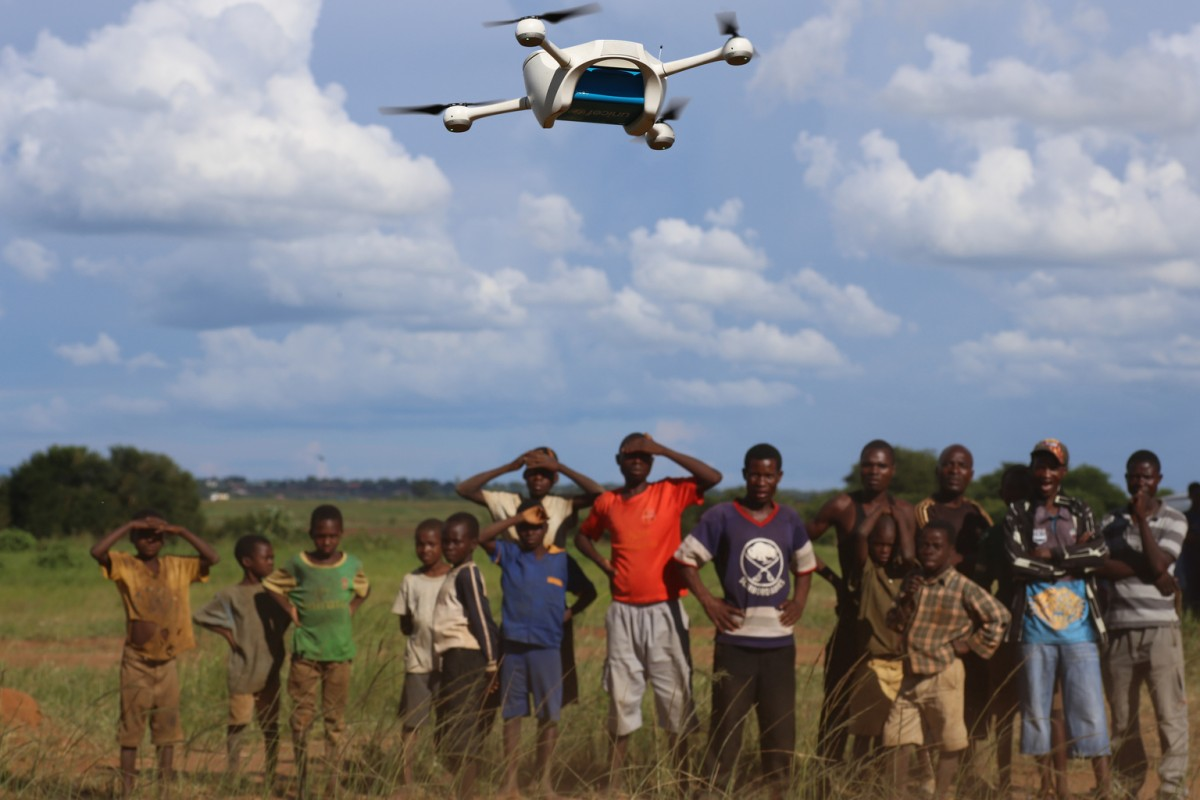 On 12 March 2016, children in Malawi look on amazed in the community demonstration of  Unmanned Aerial Vehicles (UAVs or drones) flying in Lilongwe. The Ministry of Health and UNICEF launched the first 10km auto programmed flight in a trial to speed up the testing and diagnosis of HIV in infants.  Malawi has a national HIV prevalence rate of 10% - still one of the highest in the world. An estimated 1 million Malawians were living with HIV in 2013 and 48,000 died from HIV-related illnesses in the same year. Whilst progress has been made, and today 90% of pregnant women know their HIV status, there is still a drop off with testing and treating babies and children. In 2014, around 10,000 children in Malawi died from HIV-related diseases and less than half of all children were on treatment.    Samples are currently transported by road, either by motorbike or local authority ambulances. Various factors including the high cost of diesel fuel, poor state of roads and limited distribution schedules have resulted in extreme delays in lab sample transport, constituting a significant impediment for the scaling up of paediatric ART's effectiveness.     In March 2016,  the Government of Malawi and UNICEF have started testing the use of Unmanned Aerial Vehicles (UAVs or drones) to explore cost effective ways of reducing waiting times for HIV testing of infants. The test, which is using simulated samples, will have the potential to cut waiting times dramatically, and if successful will be integrated into the health system alongside others mechanisms such as road transport and SMS.  The first successful test flight completed the 10km route unhindered travelling from a community health centre to the Kamuzu Central Hospital laboratory.  Local residents gathered in amazement as the vehicle took off and flew away in the direction of the hospital. The test flights which are assessing viability including cost and safety, will continue until Friday 18th March.  The UAV flights are suppo