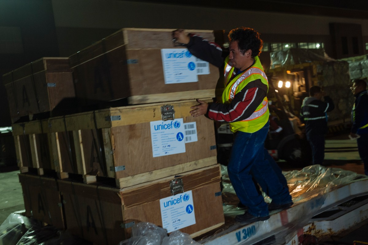On 22 April 2016, the first airlift of 86 metric tons of UNICEF relief items landed in Quito, Ecuador as the number of children affected by the earthquake reached 250,000.  The supplies included 10 000 fleece blankets, 106 tents, 300 rolls of tarpaulin, 4000 long lasting insecticidal bed nets, 14 collapsible water tanks, 31 000 collapsible jerry cans, 5000 sachets of oral rehydration salts and 8 diarrhea kits. As part of a UN appeal for $72 million, UNICEF and its humanitarian partners will need $23 million to provide for the needs of 250,000 children over the next three months. A significant portion of this amount – $14 million – will help provide water, sanitation and hygiene in temporary shelters, health centres, learning spaces and in communities. The remaining funds will cover education, protection and health needs.  On 16 April 2016, Ecuador was hit by an earthquake measuring 7.8 on the Richter scale. The earthquake was felt in the whole country, but the most significant damage has been reported from the coastal provinces. Pedernales canton (in Manabí province) has been reported as one of the most damaged territories, along with Portoviejo, Chone and Muisne. The Government has declared a State of emergency for 6 provinces: Esmeraldas, Manabí, Santa Elena, Guayas, Santo Domingo and Los Ríos. In some of the worst hit areas, mudslides are causing further damage to infrastructure and hindering access of relief teams and supplies. UNICEF is concerned about health, water and sanitation conditions in the coastal areas – which are already considered hotspots for Zika, Dengue, Malaria and Chikungunya. Three UNICEF immediate response teams functioning in the affected region, in Pedernales and Esmeraldas. UNICEF is also working to reinforce the psychological support for children living in shelters provided by the Government.  Immediately after the earthquake struck, UNICEF sent in water purification tablets, mosquito nets and tarps.