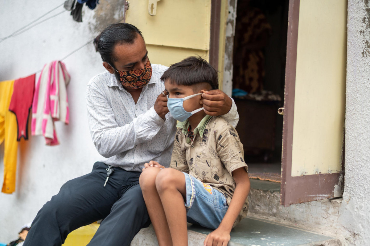 Jay rawal ensures his son Vraj (9) wears a mask whenever stepping out